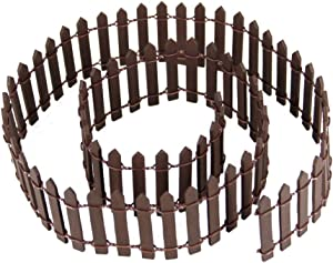 Prsildan Miniature Fairy Garden Fence, DIY Wood Picket Fence Mini Ornament for Dollhouse (Brown)