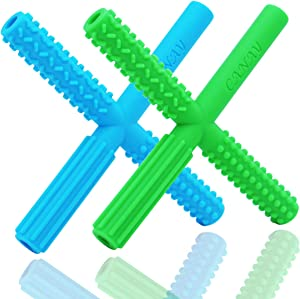 CANAY X Hollow Teether Tubes with 3 Different Textures - Teething Toys for Babies 0-6 Months 6-12 Months - BPA Free / Freezer & Refrigirator Safe - Baby Teether for Infants and Toddlers