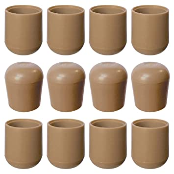 Amazing Folding Chair Leg Caps Beige 7 8 Inch 12 Pack Heavy Duty Nylon Chair End Caps Non Marring Round Hardwood Floor Protectors Compatible Replacement Dailytribune Chair Design For Home Dailytribuneorg