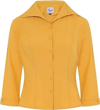 Banned Retro Janine 40s Años 50 Estilo Vintage Camisa Blusa - Mostaza, L: Amazon.es: Ropa y accesorios