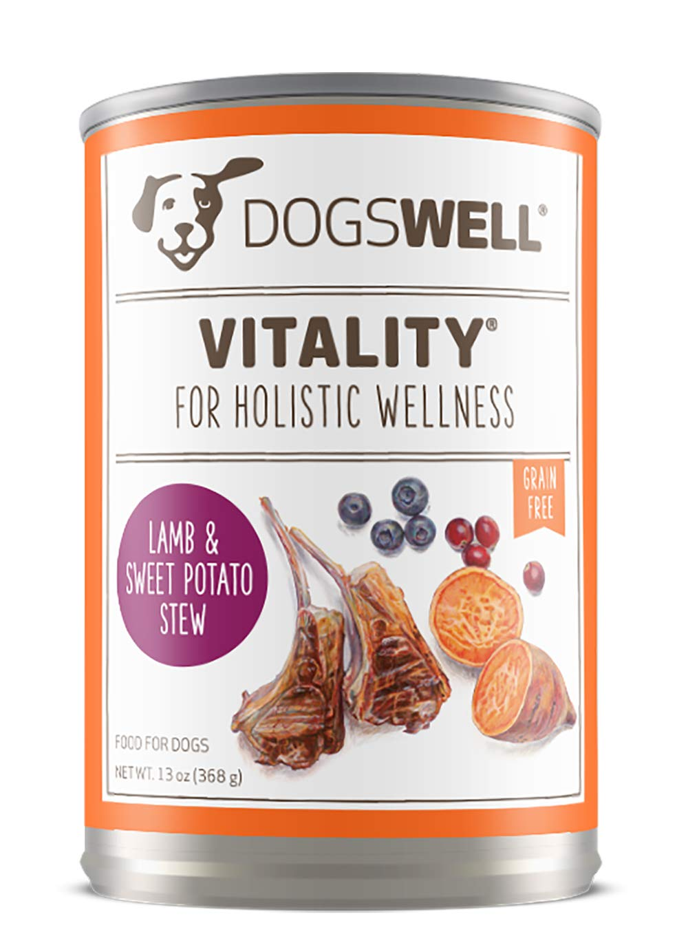 Dogswell Vitality for Dogs Lamb & Sweet Potato Stew Recipe 13-Ounce Cans (Pack of 12)