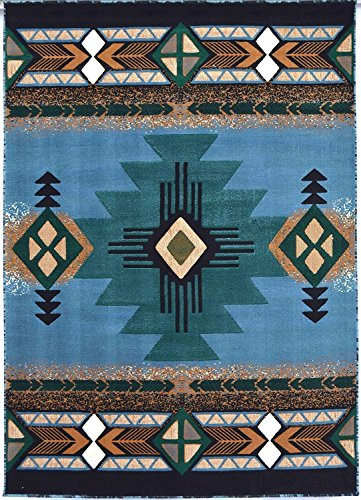 Rugs 4 Less Collection Southwest Native American Indian Area Rug Design R4L 318 Light Blue (6'x8'6'') by Rugs 4 Less