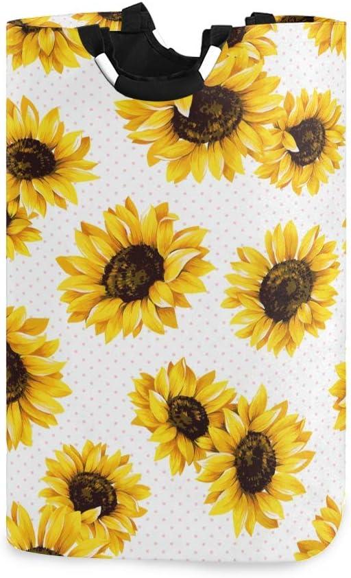 senya Sunflower Large Laundry Basket Shopping Bag, Collapsible Fabric Laundry Hamper, Foldable Clothes Bag, Folding Washing Bin (c9)