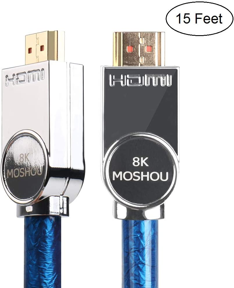 SIKAI 8K TV HDMI Cord Ultra High Speed HDMI 2.1 Cable Support 8K@60Hz, 4K@120Hz, 48Gbps-Ethernet, eARC, Dolby Atmos Vision HDR10, HDCP2.2, Up to 7680-by-4320 Resolution (15 Feet, Blue)