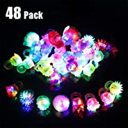 Vansufo Party Favors for Kids Prizes 48 Pack Flashing LED Jelly Light Up Rings Toys Bulk Boys Girls Gift Glow in The Dark Par