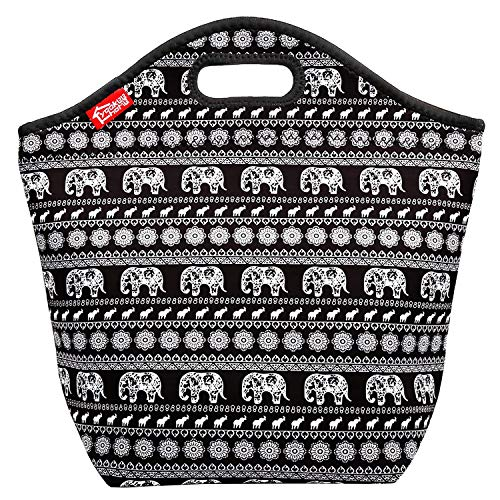 Elephant Large Lunch Bag for Women Neoprene Insulated Lunch Tote Bag Thermal Reusable Lunchbox for Adults Women Girls, Suitable for Office Work Outdoor Picnic -