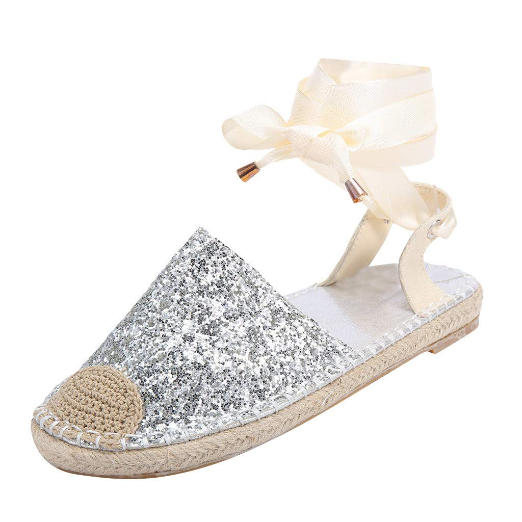 Women Flat Sandals Summer,SIN+MON Women Casual Straw Round Closed Toe Lace-Up Sequin Cloth Shoes Cross Strap Rome Sandals