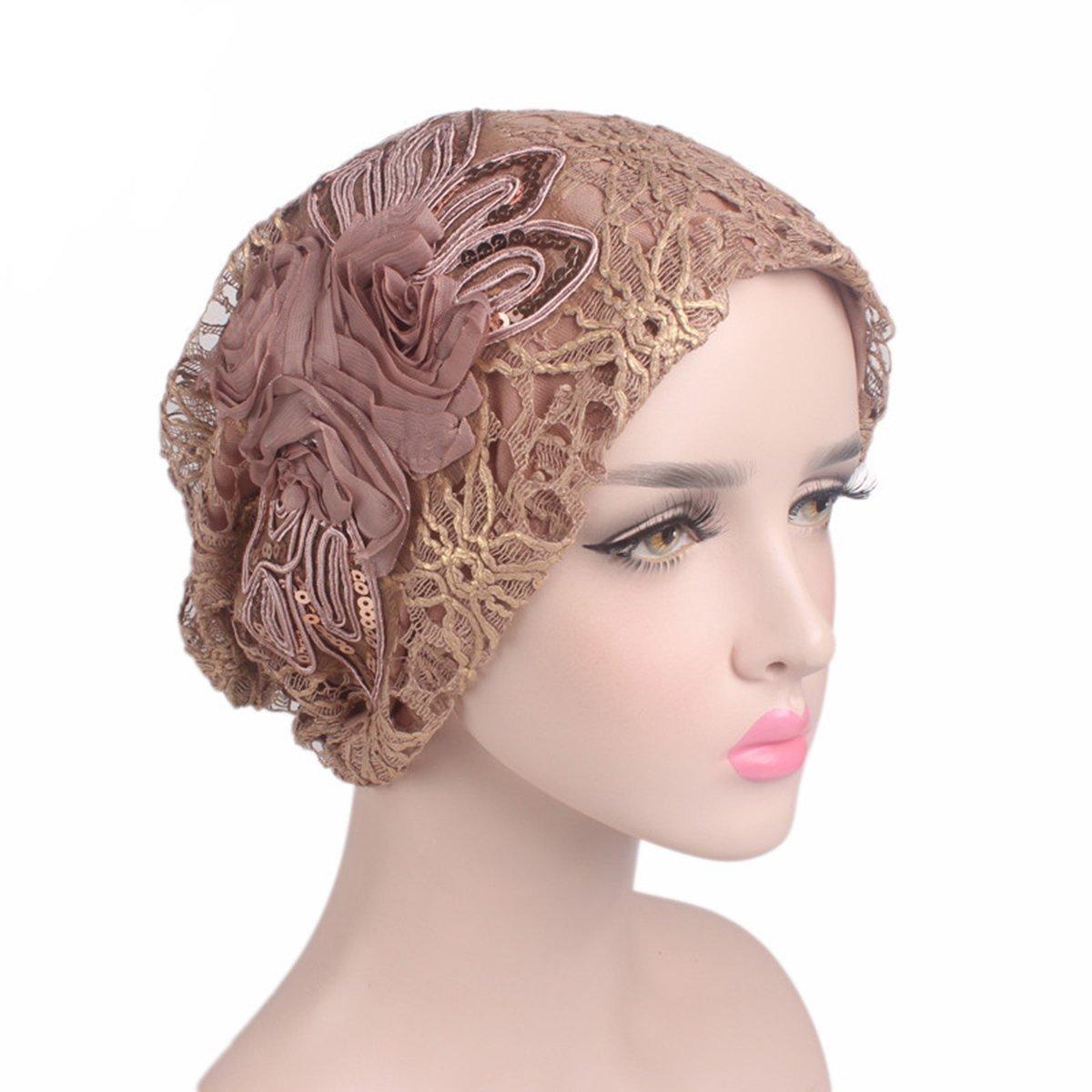 HONENNA Women's Chiffon Lace Floral Mesh Headscarf Cap Chemo Beanie Hat Wraps Turban Headwear for Cancer (Khaki)