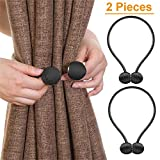 Curtain Tiebacks,Classic Strong Magnetic Window Holdbacks,Home Office Decorative Drapes Holders,Black/1 Pair