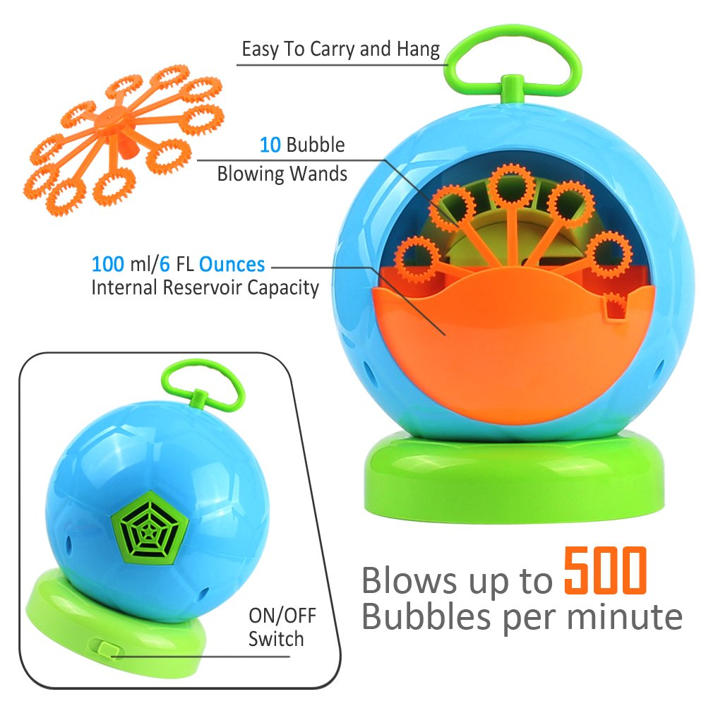 AMOSTING Bubble Machine Automatic Bubbles Blower for Kids Outdoor Toys Party Supplies Bubble Maker with Bubble Wands by AMOSTING (Image #3)