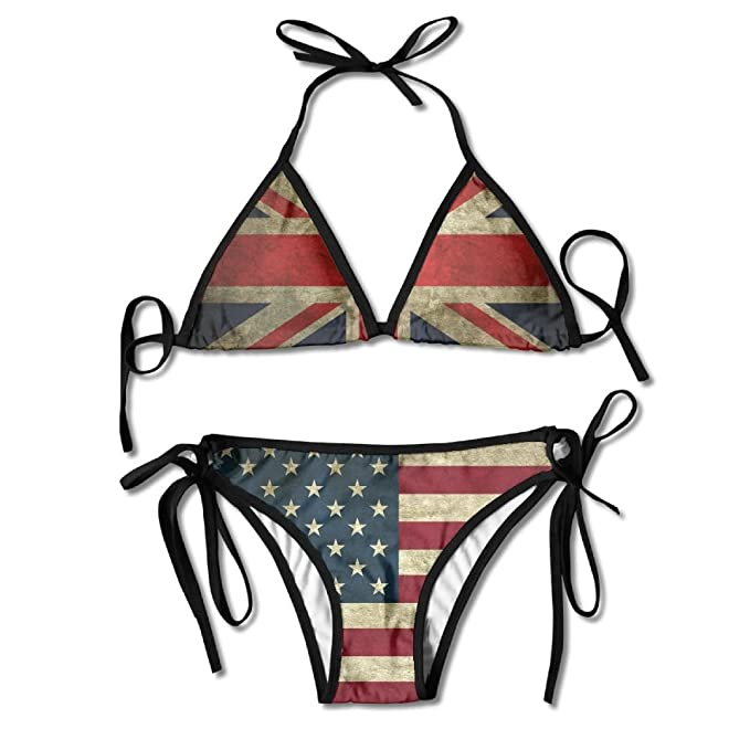 b3aa3739f9 Amazon.com  R-An131 Soft USA Flag Vintage Retro Girl s Two Pieces ...