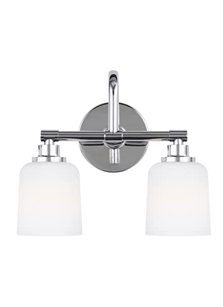 Feiss Vs23902ch Reiser Glass Wall Vanity Bath Lighting Chrome 2 Light 14 W X 12 H 120watts