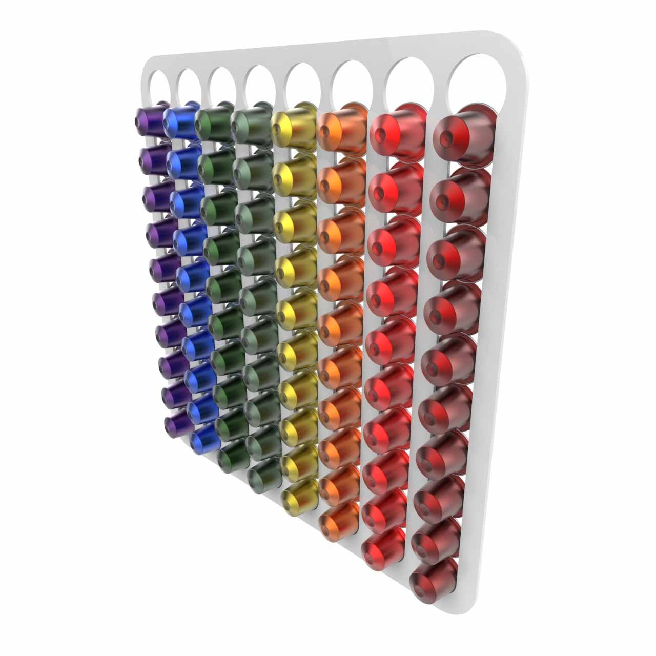 Nespresso coffee capsule pod holder wall mounted holds 80 capsules, Free Trolley Token Material Sample Included per Shipment (Black) Expression Products
