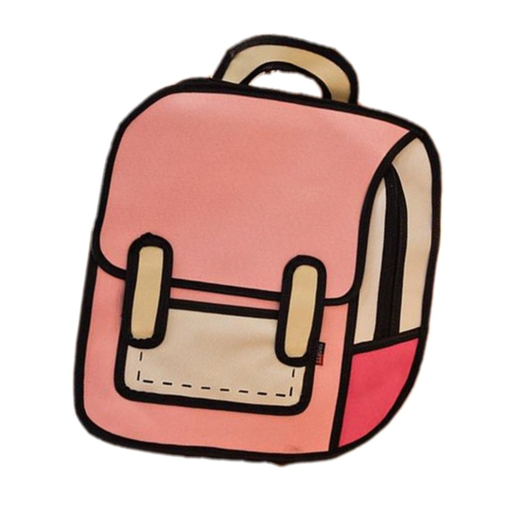 4014e8dc80 Amazon.com  3D Jump Style 2D Drawing Cartoon Paper Bag Comic Backpack  Messenger Bookbag New  Home   Kitchen