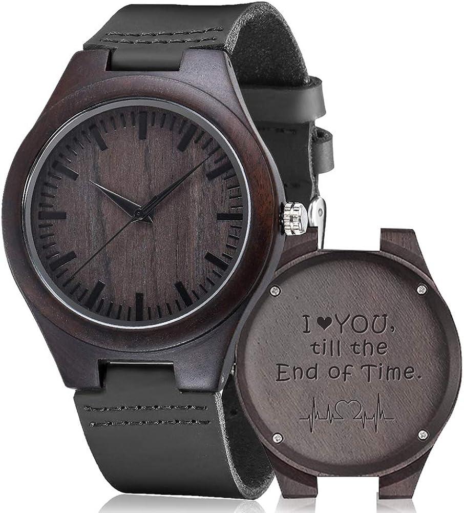 Reloj de madera grabada, Shimenmei S5520 reloj de madera personalizado regalos reloj personalizado para hombres mujeres marido esposa padrino cumpleaños boda aniversario graduación Navidad
