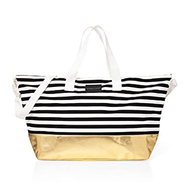 64c0d62c90fe4b Amazon.com | Victorias Secret Large Duffle Beach Weekender Tote Bag Getaway  - Black & White Stripe / Gold | Travel Duffels