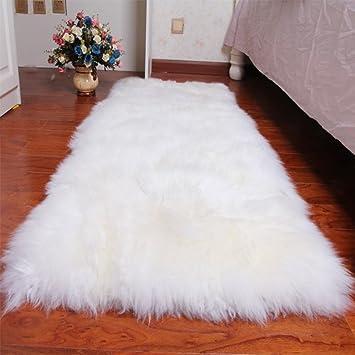 Yazi Tapis blanc peau de mouton, rectangle en fausse fourrure pour ...