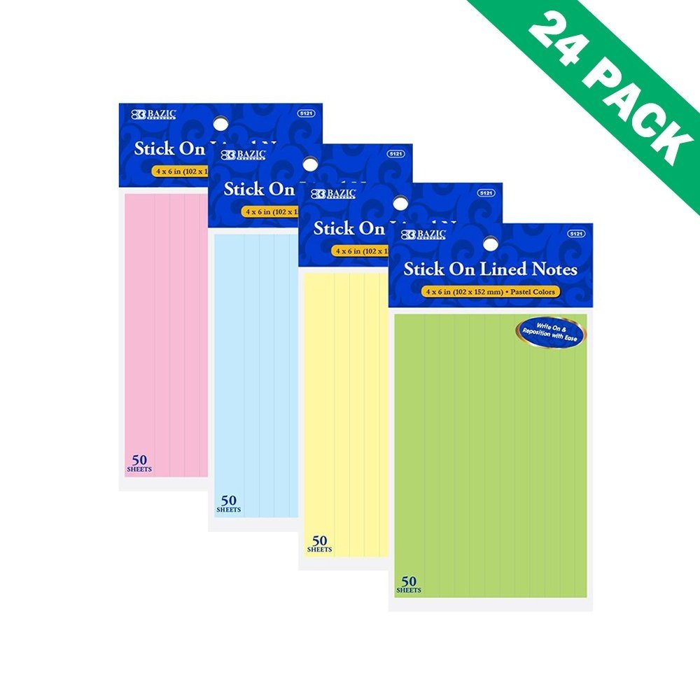 Colorful Sticky Notes, Pastel Lined Sticky Note Pads For School (24 Pack)