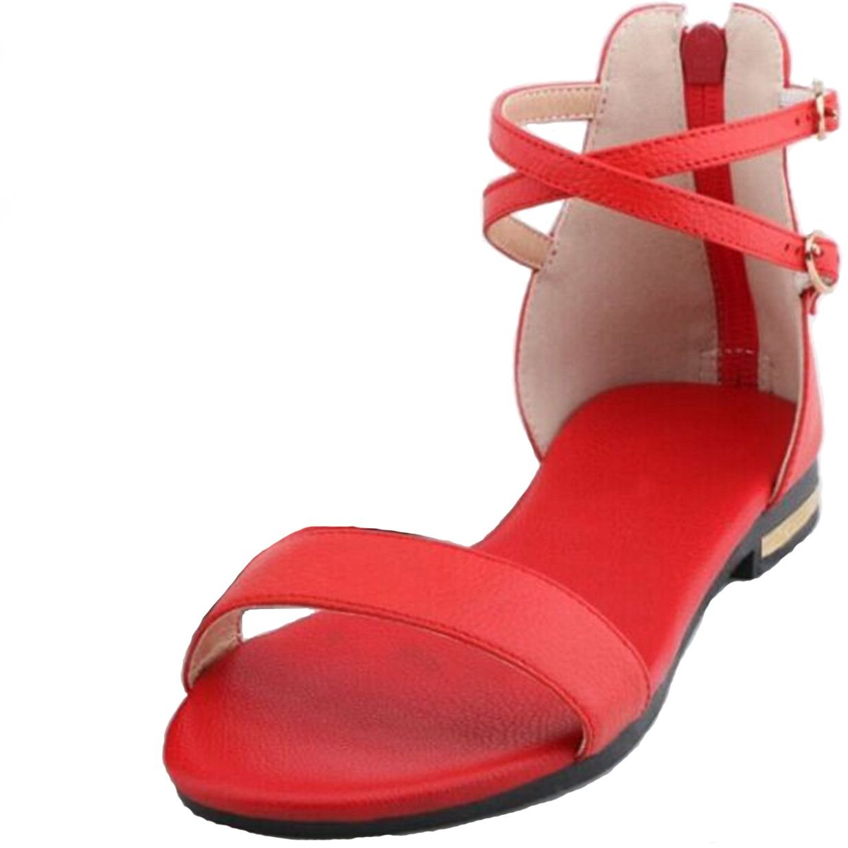 VIMISAOI Women's Leather Buckle Strap Summer Open Toe Ankle Strap Zip Casual Flat Sandals Shoes B0794PVHP9 9.5 B(M) US|Red