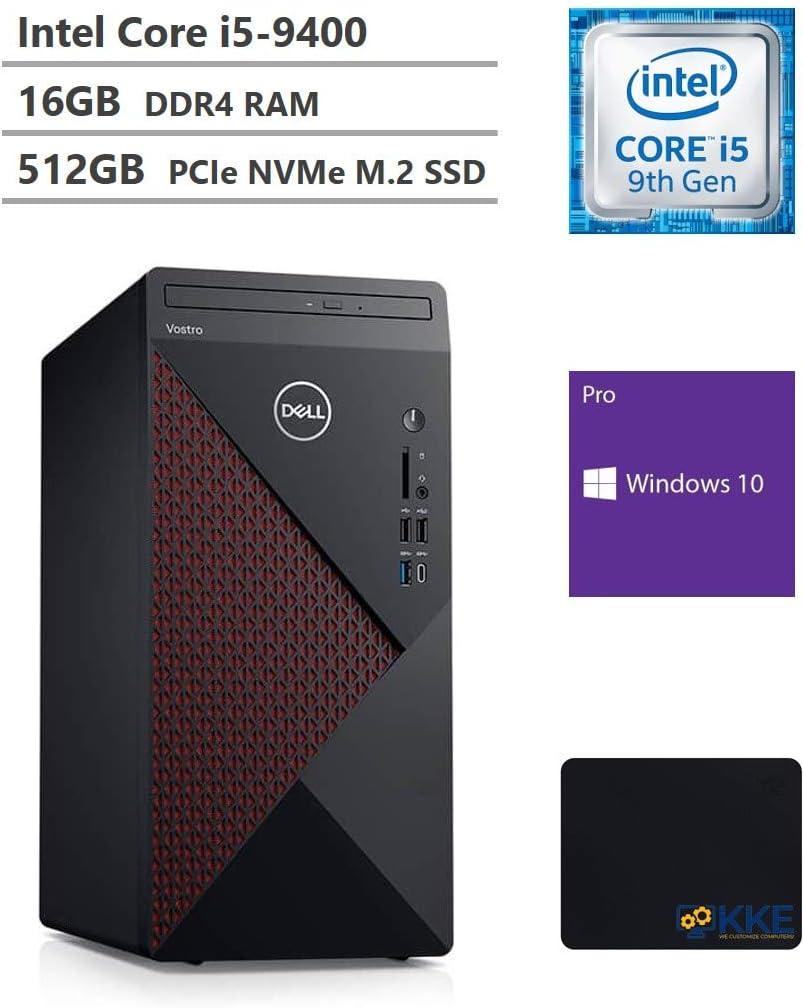 Dell Vostro 5000 Series 5090 Tower Business Desktop, Intel Core i5-9400 6-Core Processor up to 4.1GHz, 16GB RAM, 512GB PCIe NVMe SSD, HDMI, DisplayPort, DVD, Wi-Fi, Windows 10 Pro, Black, KKE Mousepad