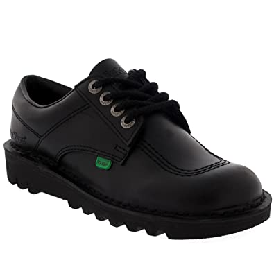 81add28cd2d7 Kickers Unisex Kids Youth Kick Lo Back To School Low Leather Boots Shoes -  Black -