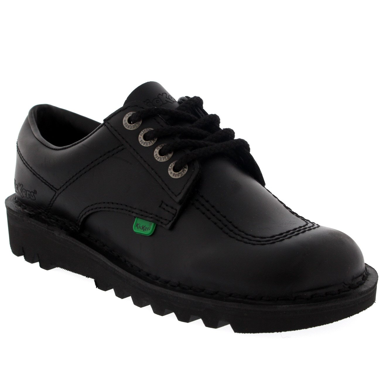 Unisex Kids Junior Kickers Kick Lo Leather Back To School Boot Shoes - Black - 13