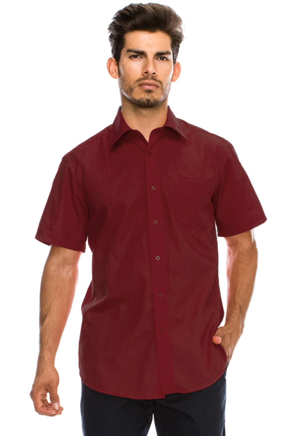 JC DISTRO Men's Regular-Fit Solid Color Short Sleeve Dress Shirt, Burgundy Shirts (3XL)