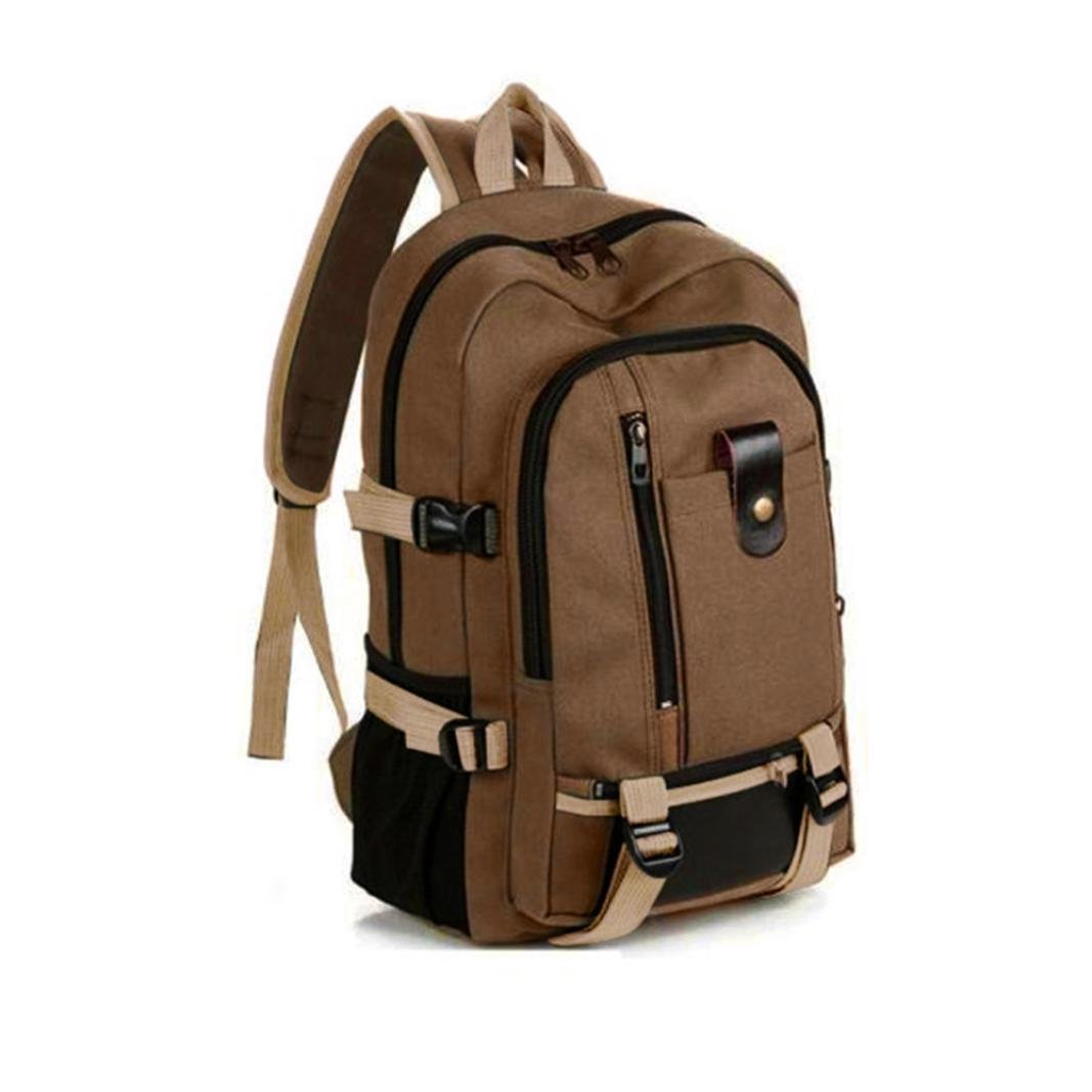 Men Casual Travel Canvas Leather Backpack Sport School Hiking Bag (Brown)