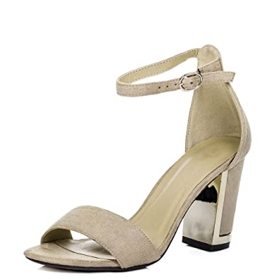 36a6a246a64 Open Peep Toe Metal Trim Block Heel Barely There Sandals Pumps Shoes Beige  Suede Style Sz