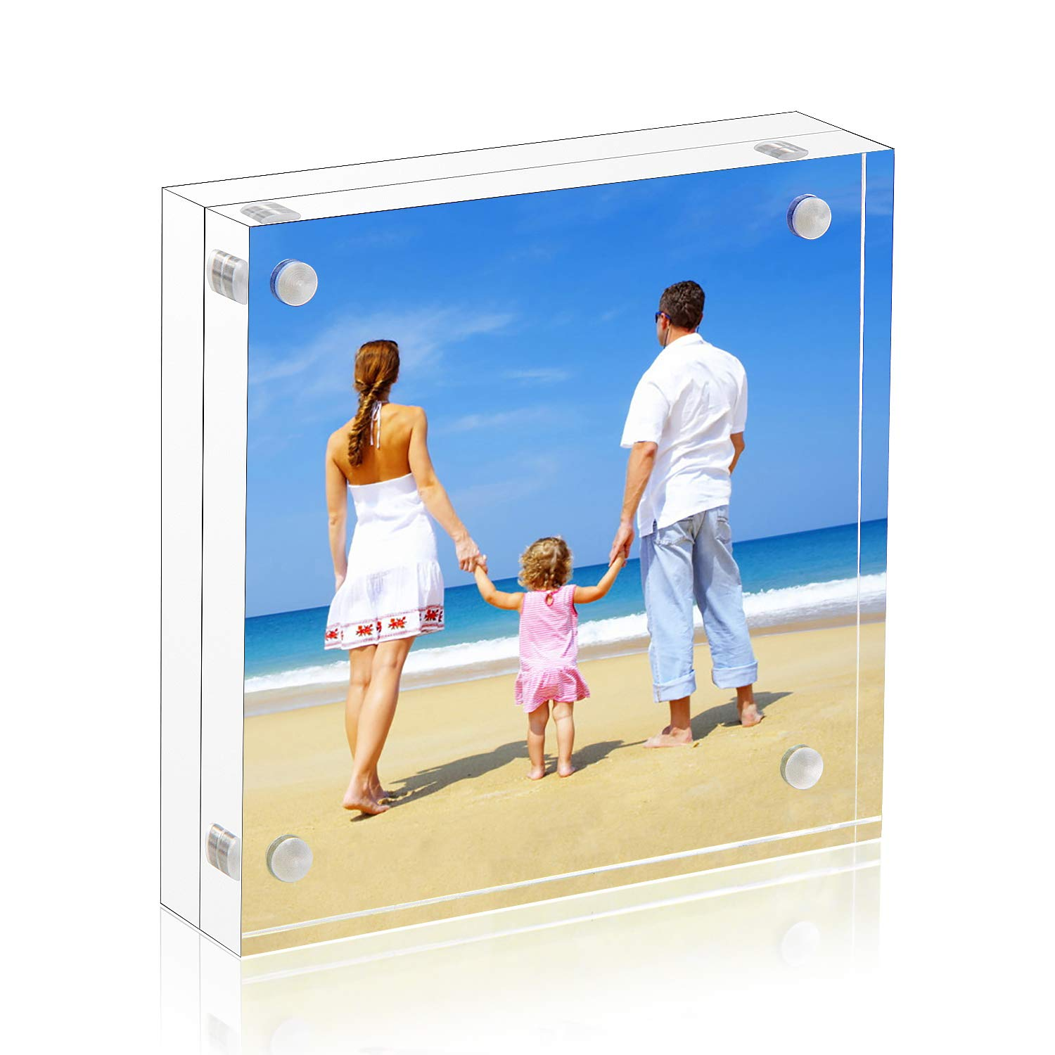 NIUBEE 5x5 Clear Acrylic Picture Frames 20% Thicker Blocks with Gift Box Package, Self Standing Magnetic Photo Frame, Frameless Desktop Card Display by NIUBEE