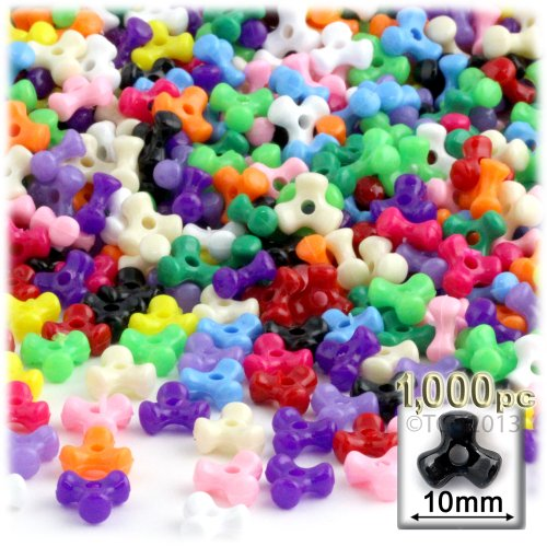 The Crafts Outlet 1,000pc Plastic, Opaque, Tri Beads, 10mm, Multi Mix