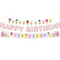 NICROLANDEE Glittery Happy Birthday Banner Flags Ice Cream Theme Paper Garland with...