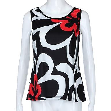 f037ce9733e Obteun Fashion Women Plus Size Ladies Color Block Print Tank Top Blouse  O-Neck Sleeveless