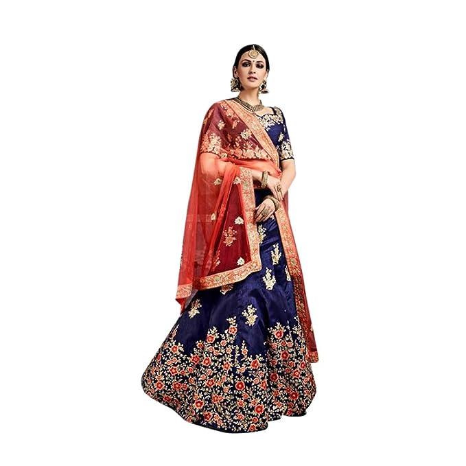 16fb7ce044b9 Lehenga blu con dupatta rosso Tradizionale Indiano Etnico Abiti Indiani  Abiti Dress Anarkali Salwar Abito nuziale ...