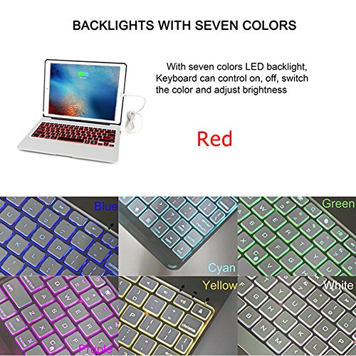 iPad Pro 9.7 Keyboard Case, iEGrow F06 7 Colors Backlit Slim Aluminum Bluetooth Keyboard with Protective Clamshell Case Cover and 2800 mAh External Battery for iPad Air 2 and Pro 9.7(Silver) by iEGrow (Image #5)