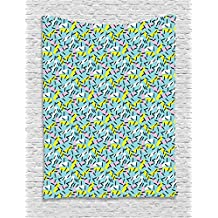Ambesonne Geometric Tapestry by, Italian Style Trippy Memphis Bands Postmodern Kitsch Futuristic Abstract Theme, Wall Hanging for Bedroom Living Room Dorm, 60 W X 80 L Inches, Multicolor