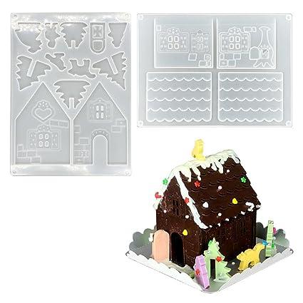 AOLVO 3D Navidad casa Chocolate Molde, Molde para Hornear de Pan de Jengibre no-