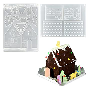 PAWACA Kit de casita de jengibre 3d Navidad Chocolate Candy de repostería de silicona molde kit DIY Build It Yourself Kit de decoración de Navidad regalo de ...