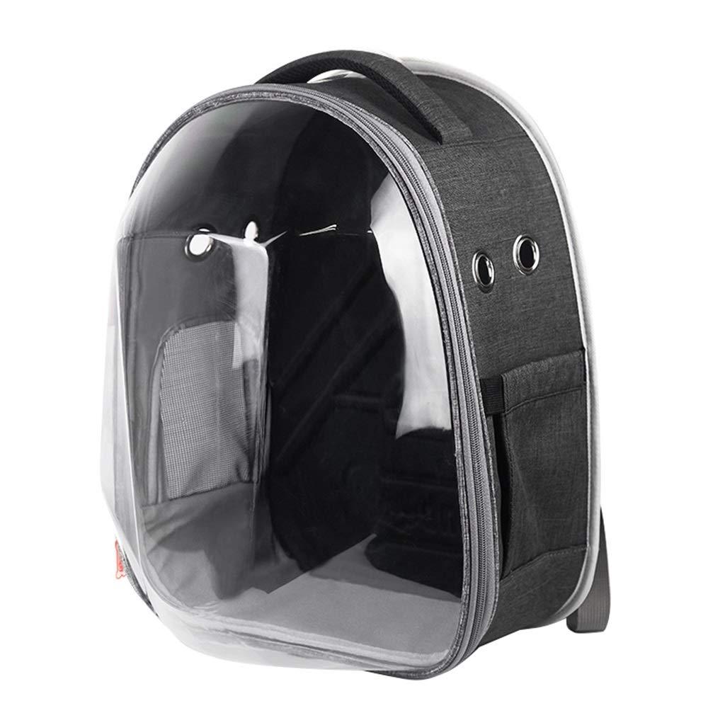 Pet Backpack Portable Travel Carrier Transparent Space Capsule Handbag Backpack for Cat Ventilated Design Pets up to 27 Pounds (Black)