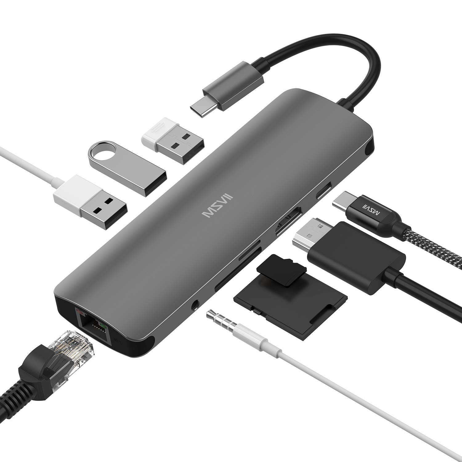 MSVII 9 in 1 USB C Hub, USB Type C Hub 9 Ports Adapter with Ethernet, 4K USB C to HDMI, 3 USB 3.0 Ports, SD/TF Card Reader, 3.5mm Audio Jack, PD Fast Charging for Mac Book Pro and Other Type-C Laptops