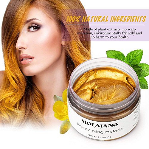 MOFAJANG Unisex Hair Color Dye Wax Styling Cream Mud, Natural Hairstyle Pomade, Temporary Hair Dye Wax for Party, Cosplay & Halloween, 4.23 oz (Gold) -