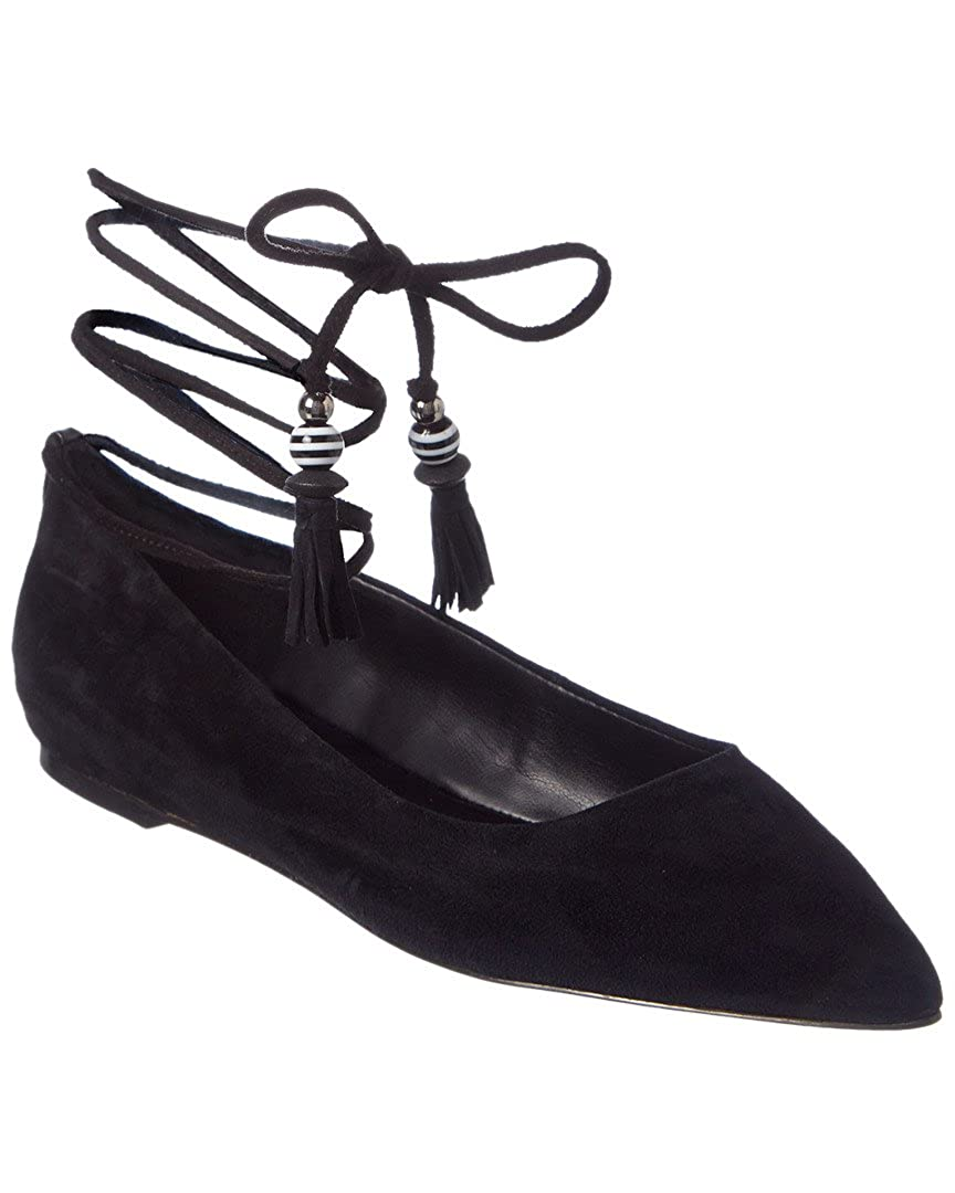 8daa72586c9e Amazon.com  Brian Atwood Womens Skylar Lace-Up Pointed Toe Ballet Flats  Black 6 Medium (B