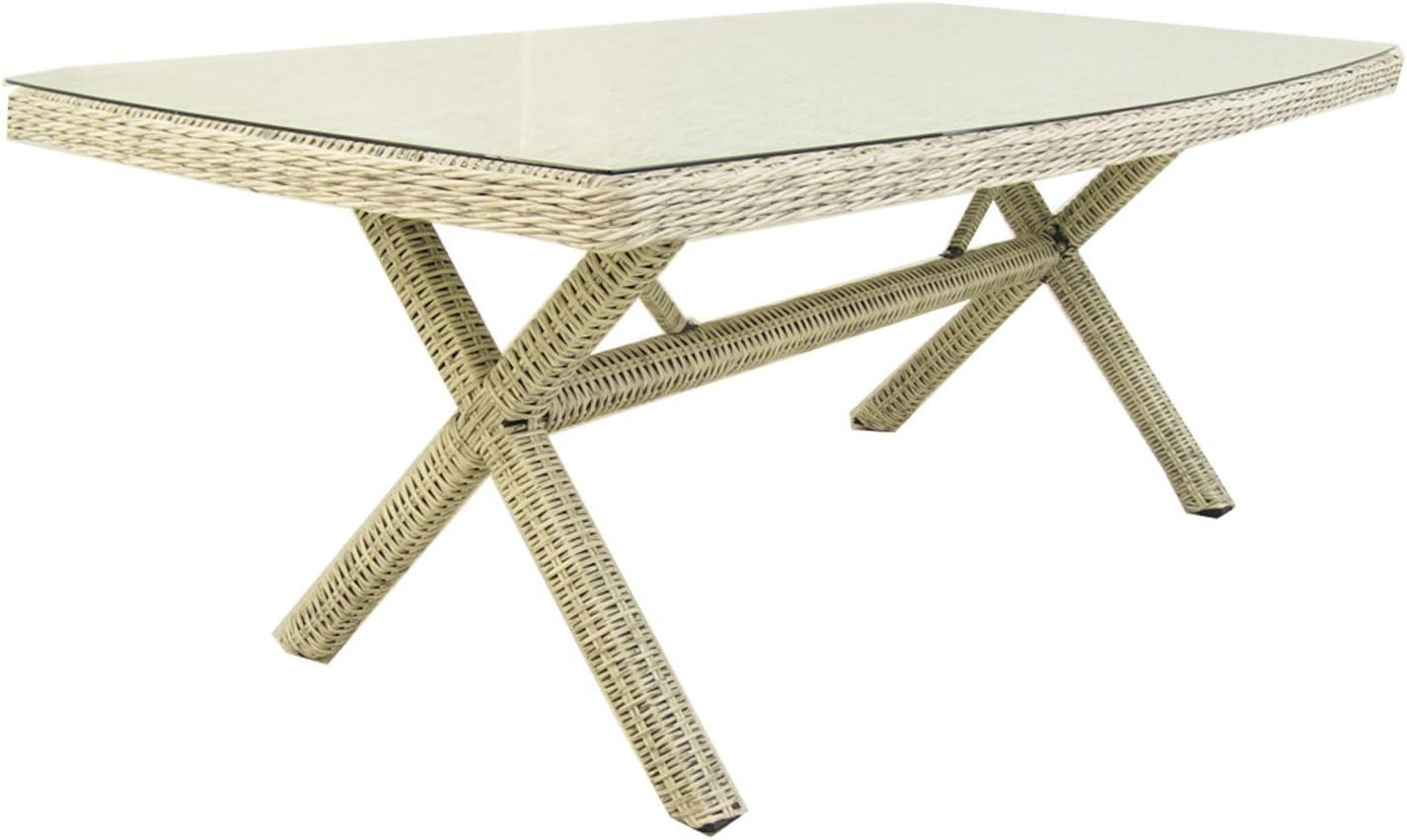 Mesa de jardín Rectangular, Tamaño: 200x100x72 cm, Aluminio y ratán sintético Redondo Color Blanco, Cristal Templado de 5 mm