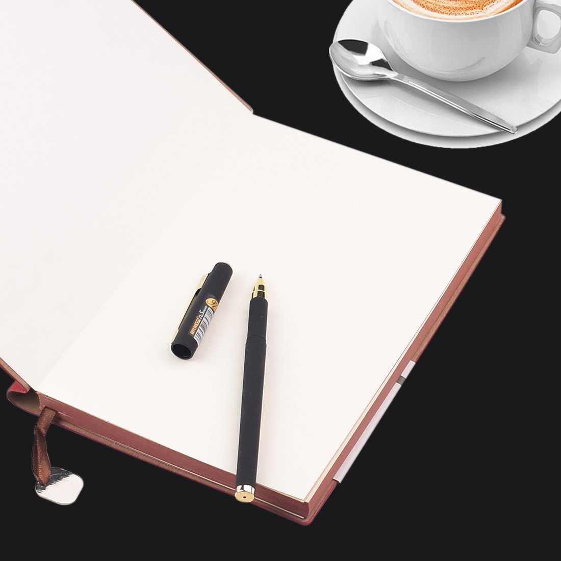 eBerry® Leather Notebook/Record Book/Lined Memo,Life&Success Planner,Classic Dark Coffee First Page,Pen Holder,Ribbon Bookmark,240 Lined Pages,6x8 Inches,0.5mm Gel Pen Included,Black(58-25) by izBuy (Image #1)