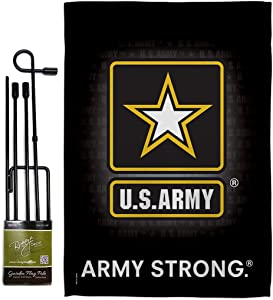 Breeze Decor Army U.S. Garden Flag Set with Stand Armed Forces Rangers United State American Military Veteran Retire Official Small Decorative Gift Yard House Banner Double-Sided Imported 13 X 18.5
