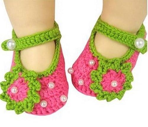 Recién Nacido, Crochet, Punto, Flores, Perla, Sandalias, niño ...