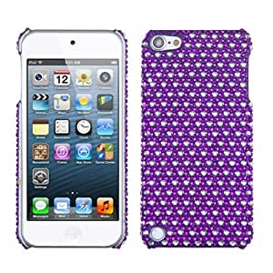 Snap on Cover Fits Apple iPod Touch 5 (5th Generation) Dots Purple white Full Diamond/Rhinestone Back (Please carefully check your device model to order the correct version.)