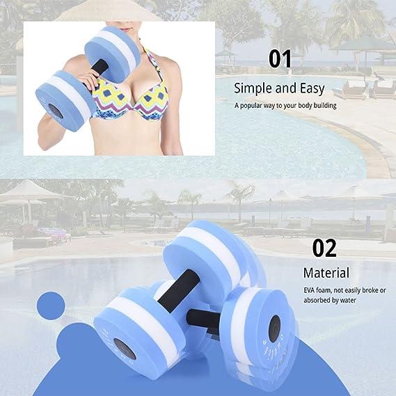 Mancuernas para ejercicios acuáticos, aeróbicas, resistencia a la piscina, ejercicios deportivos, equipo para fitness en la piscina, natación, aeróbico, ...
