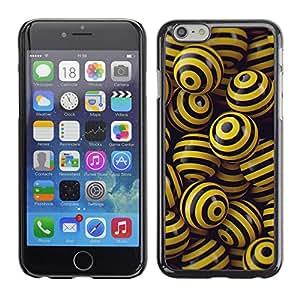 EJOY---Cubierta de la caja de protección la piel dura para el / iPhone 6 / --NEGRO y bolas amarillas