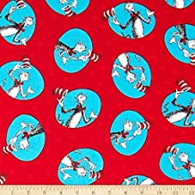 """1 Yard - Dr. Seuss """"The Cat in the Hat"""" Red Polka Dot Cotton Fabric - Officially Licensed (Great for Quilting, Sewing, Craft Projects, Quilts, Throw Pillows & More) 1 Yard X 44"""" Wide"""